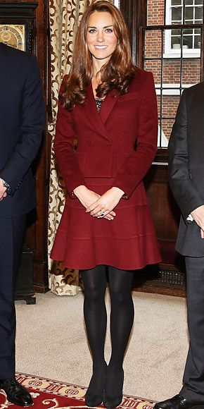 The Duchess met scholarship at Middle Temple Inn in London wearing a two-piece suit by Paule Ka, which she paired with opaque black tights and heels.