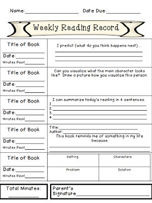 Weekly Reading Records with Daily Comprehension Responses (FREE WEEK)
