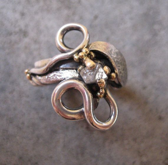 Engagement or Wedding Ring of Silver 14kt by GarciaAlfaroArtJewel, $405.00