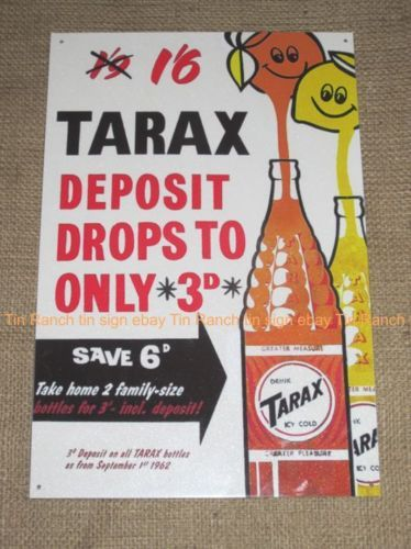 vintage-TARAX-soft-drink-TIN-SIGN-cool-NEW-Melbourne-Australian-Retro-nostalgic