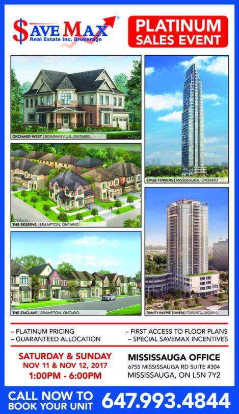 Get Priority Access to All These Pre-construction Projects in our Platinum Sales Event This Weekend. ✅ Orchard West Singles in Bowmanville ✅ The Reserve Luxury Homes in Brampton ✅ The Enclave Luxury Homes in Brampton ✅ Edge Towers in Mississauga  ✅ Trinity Ravine Towers in Toronto ❇️ For more info, please call 647.993.4844 Today!
