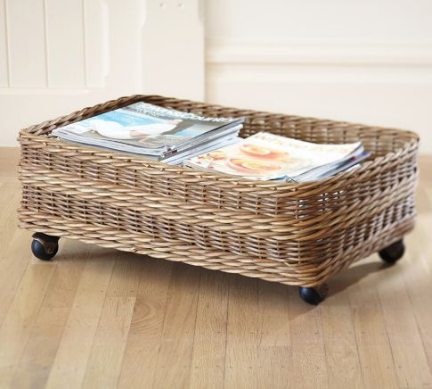 add wheels to a basket to easily store under a bed
