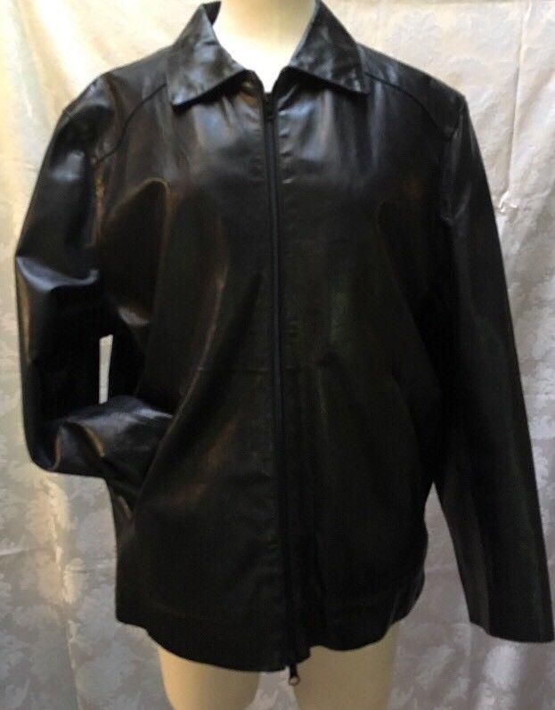 05d4bc1916b36 Mitici Anni 60 ITALY FLORENCE Black XL Italian Leather Motorcycle Cafe  Jacket   eBay