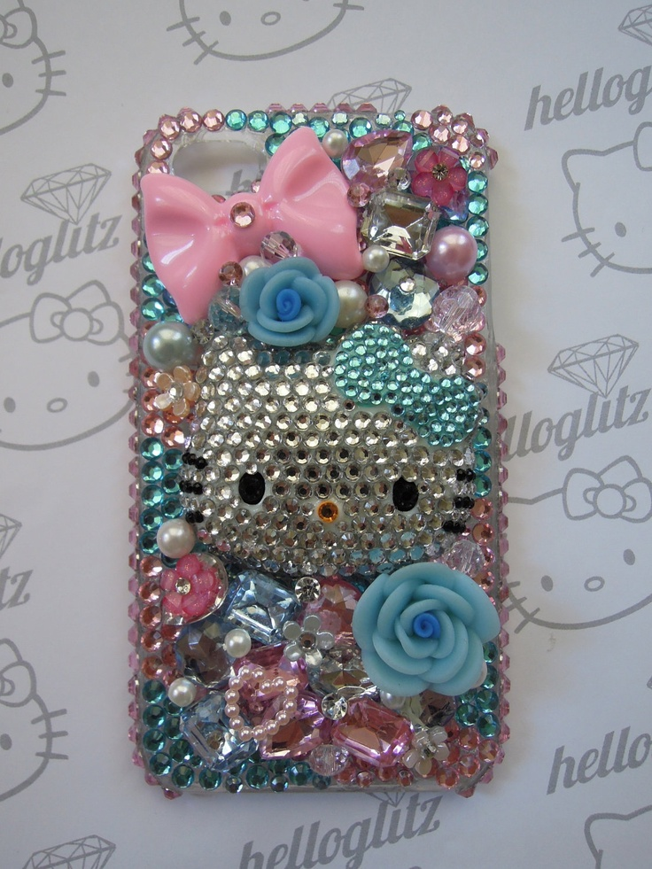 3D Hello Kitty Pink and Blue Bling iPhone 4 Case by helloglitz