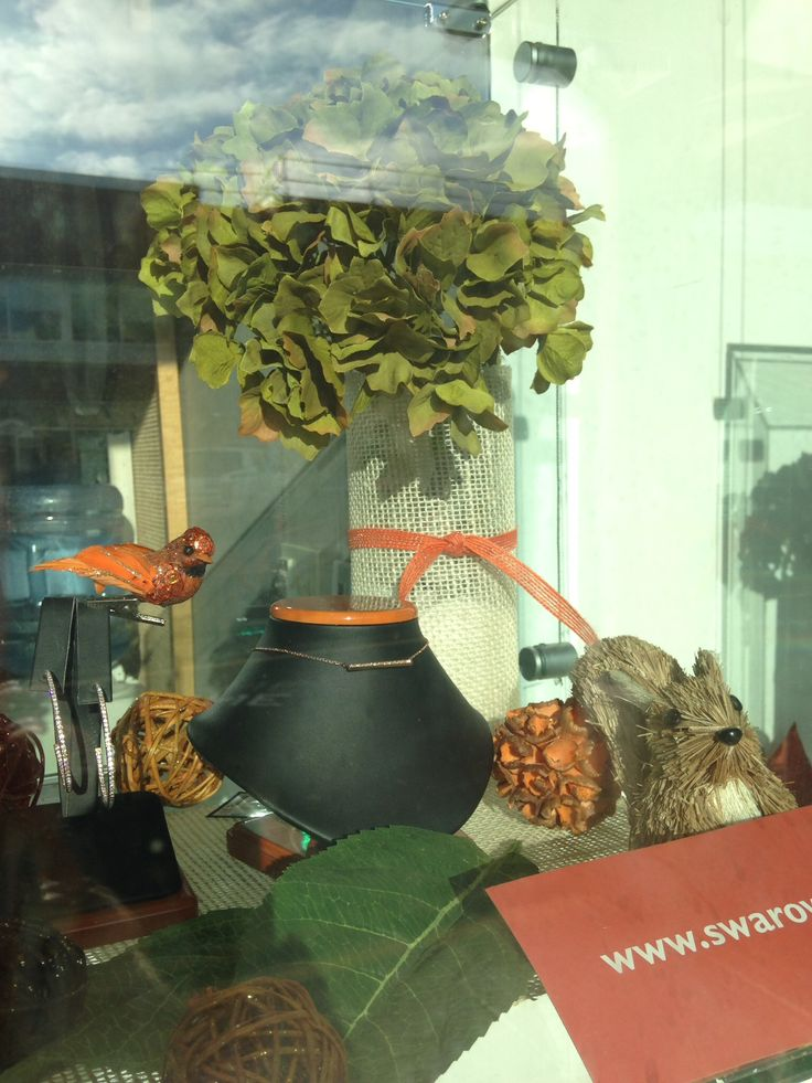 Autumn Jewellery Window Display for Nortons Jewellers created by Moving Designz