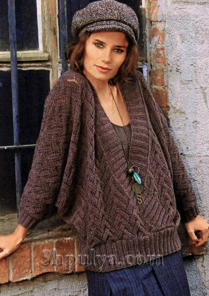 "Вязаный пуловер с рукавами ""летучая мышь"" спицами"