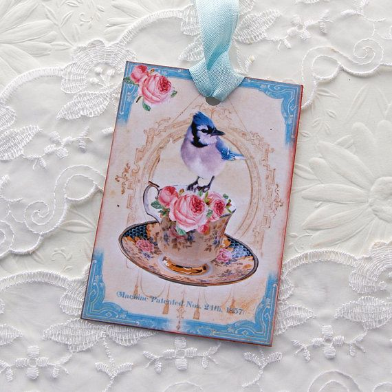 Tags Bird Teacup French Gift Hang Tea Party by EnchantedQuilling
