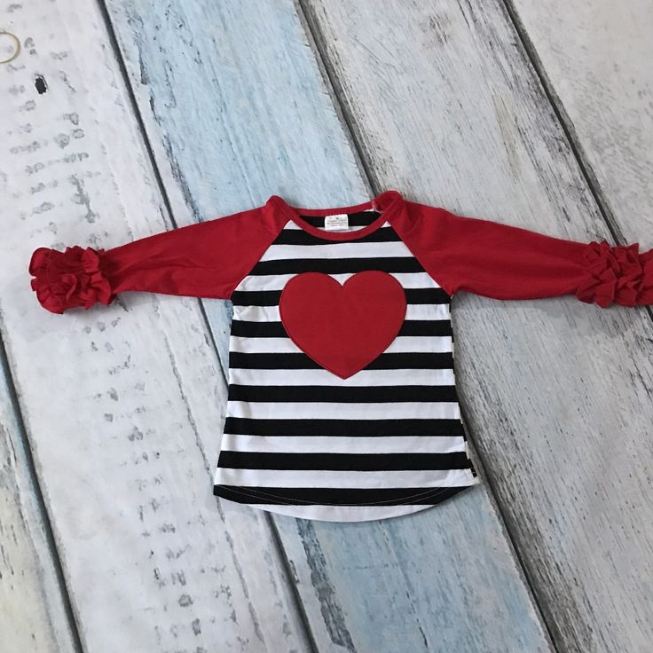 Valentine's Day baby girls  striped red heart three quater cotton boutique cute topT-shirt fall reglans clothing ruffles print #>=#>=#>=#>=#> Click on the pin to check out discount price, color, size, shipping, etc. Save and like it!