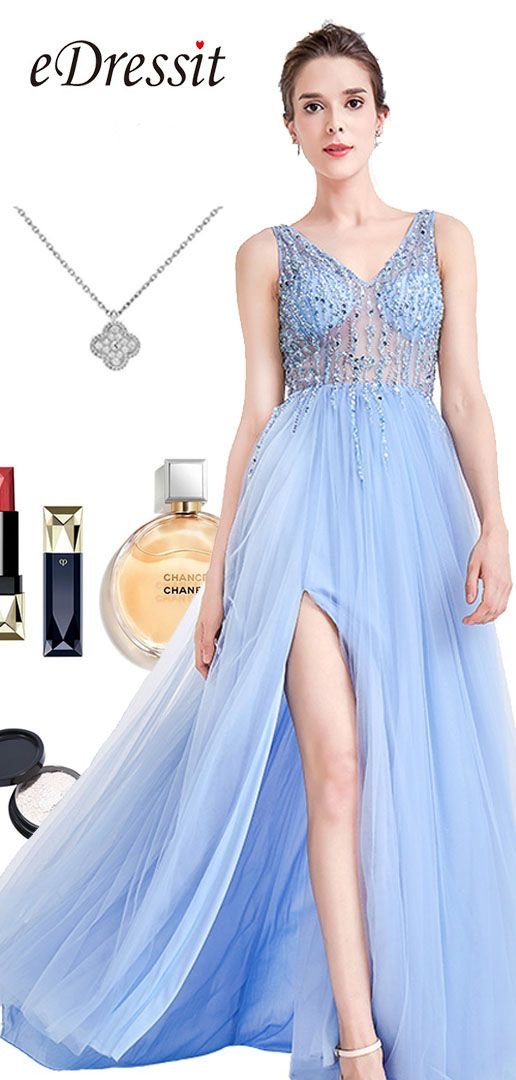 2cec021ff5 Blue Sparkly V Cut Beaded Women Evening Dresses (36180505) in 2018 ...