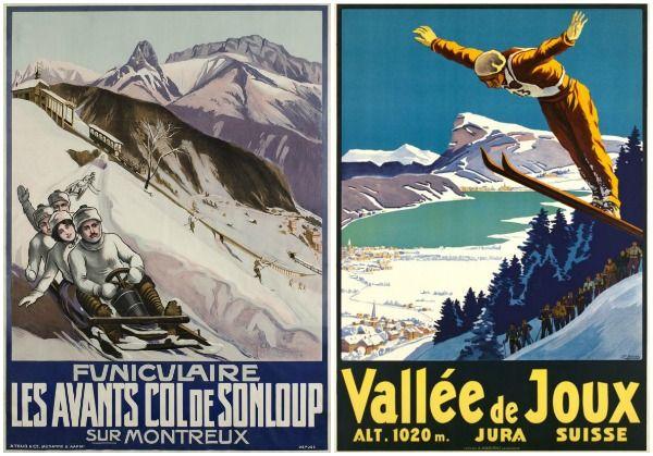 Wonderful vintage wintersports posters at Galerie Un Deux Trois in Geneva.