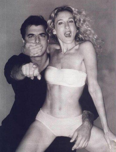 sarah jessica parker and christopher noth. I've seen every sex and the city episode over 10 times and everything that's sex and the city related...and I've never seen this! Love it.