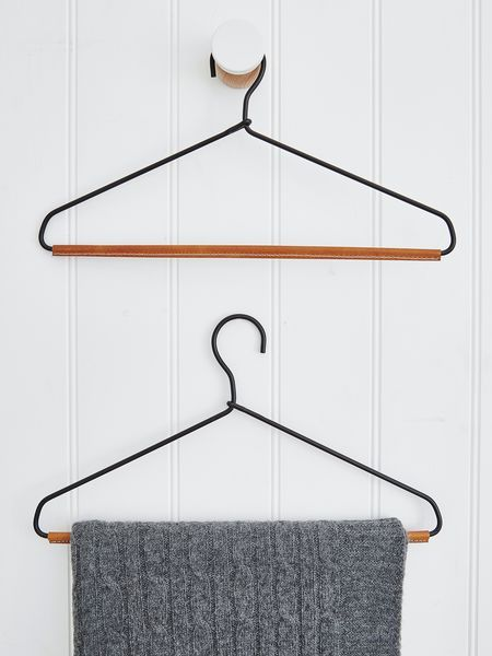 Part of our new Danish designer range, these beautifully shaped, leather and metal clothes hangers are just so different.