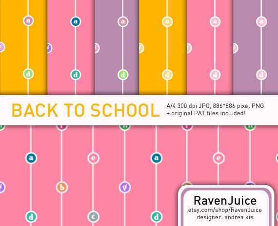 Back to School SPECIAL OFFER - limited price!  Back to School pattern set printable paper / digital paper / scrapbook paper / texture / background with alphabet for scrapbooking and other design-related works. A pattern set with the alphabet and beautifully colorful backgrounds - great to make home-made school labels, wrapping paper, scrapbboking, school themed designs and so on...