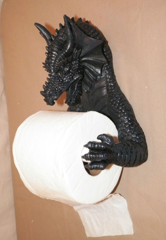 NEW GOTHIC DRAGON BATHROOM TOILET PAPER HOLDER WALL MOUNT HANGING FIGURE STATUE #Unbranded
