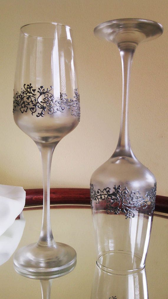 Set of 2 hand painted champagne flutes Lace by PaintedGlassBiliana