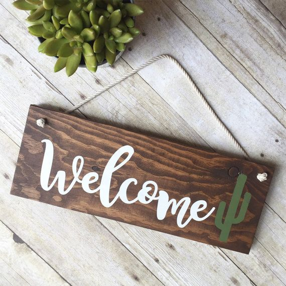 Cactus Sign Welcome Sign For Front Door  Wreath by ShopHouseOfLiv