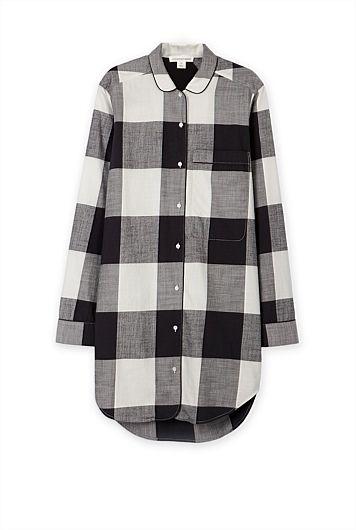Woven Check Night Shirt