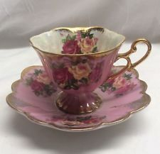 Vintage HALSEY VERY FINE - Iridescent PINK with ROSES Footed TEACUP & SAUCER