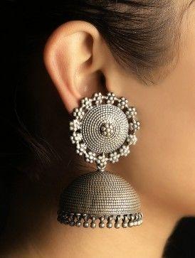Floret Grandeur silver Jhumkas from Jaypore