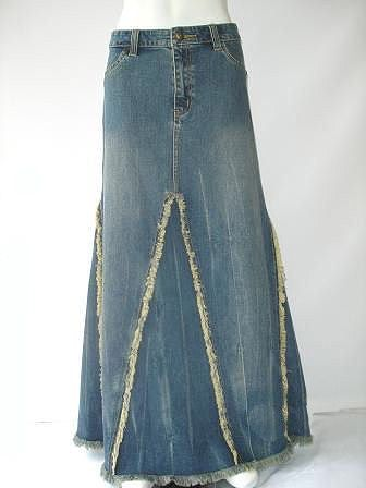 Long Denim Skirts | ... .com - Tell a Friend about our Veined Fringed Long Jean Skirt