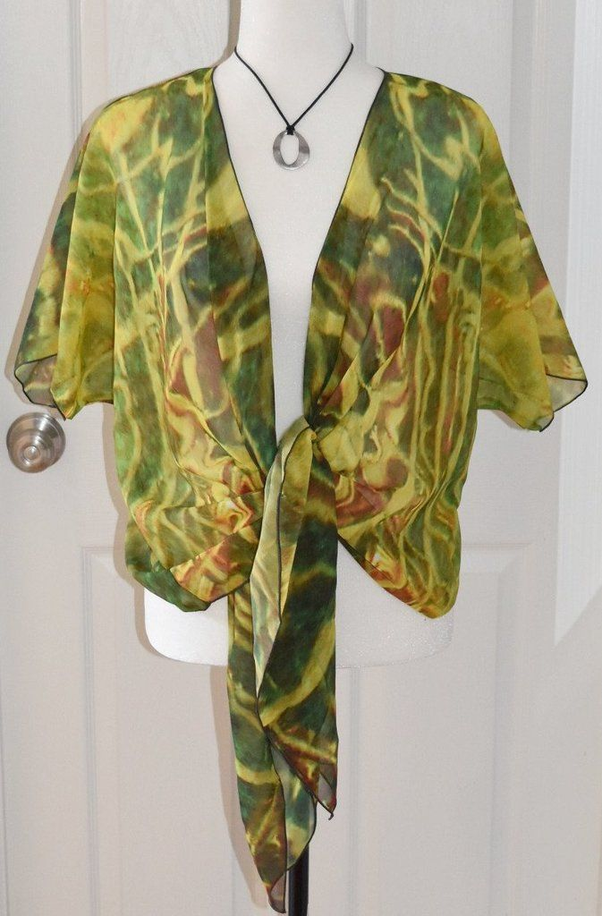 #SOLD!!! Thank you for the customer who bought this chiffon cardigan and one other. It is greatly appreciated! Green Red Water' Draped Fashion Cardigan (Only 22 available worldwide!)