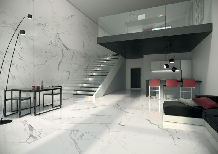 Modern villa living room with total white marble look tiles - Anima series. #facade #outdoor #colour #design #tile #design #lanscapearchitecture #ceramicheacaesar #caesarceramics #project #evolution #home #indoor #hospitality #office #shop #boutique #cladding #floor #wall