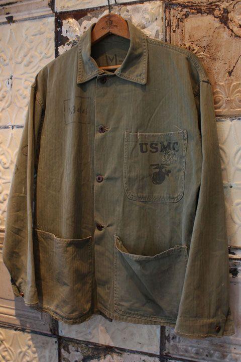 40's U.S.M.C. TYPE P-41 HBT Jacket 40年代 アメリカ 海兵隊 軍 ミリタリー Military 1941 ヘリンボーン ツイル ジャケット オリーブ グリーン カーキ サイズ M L ドーナツボタン 初期 ステンシル オリジナル レア 希少 古着 オールド ユーズド ビンテージ ヴィンテージ used vintage