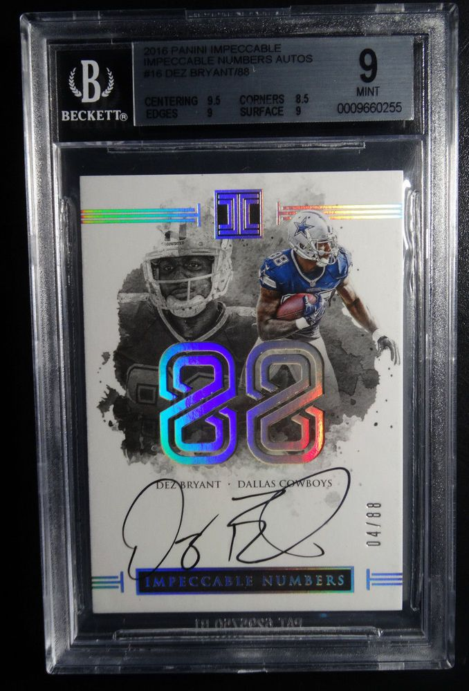 2016 Impeccable Numbers #16 Dez Bryant Dallas Cowboys 4/88 Auto 9 BGS Mint Card #DallasCowboys