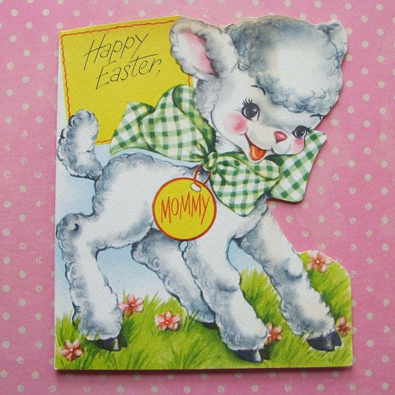 Vintage Lamb Easter Greeting Card 1950 by TinselandTrinkets, $5.50