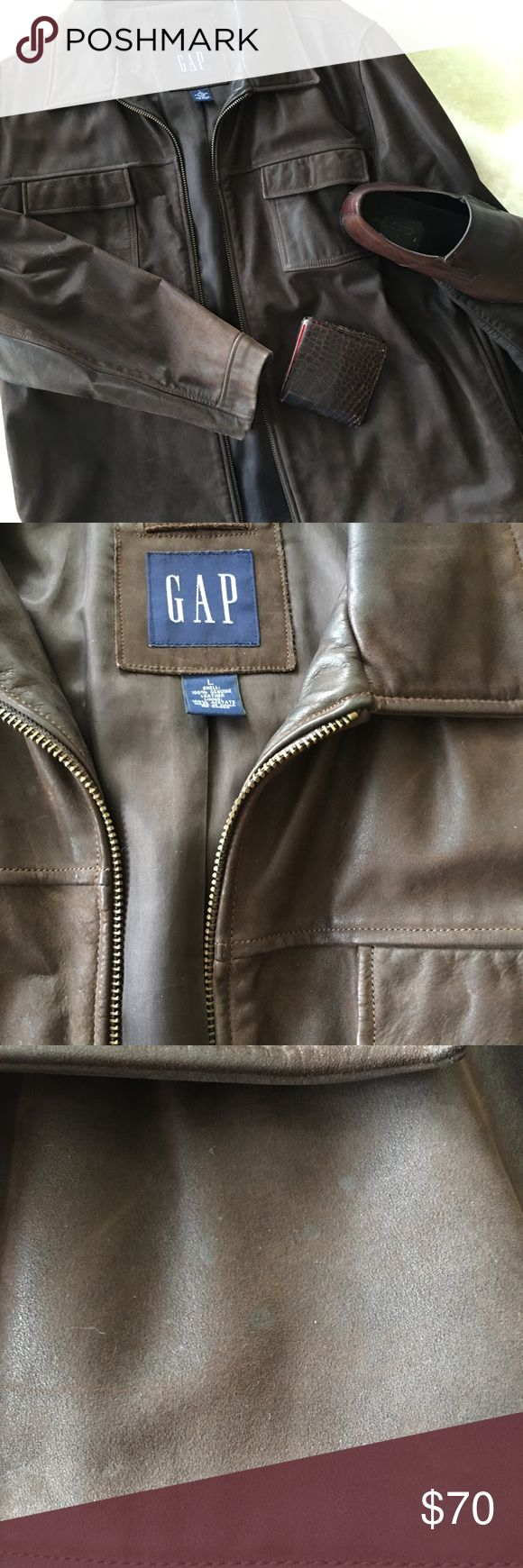 Brown Gap Leather Jacket Men's stylish brown leather jacket in great condition. Great for any occasion. Two pockets on the inside, two on the bottom outside the jacket as well as top functioning pockets on top, which makes this jacket not only cool, but super functional😎. Minor stain shown, but not noticeable when on.  💯% Genuine Leather GAP Jackets & Coats Bomber & Varsity