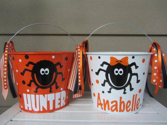 Halloween bucket: Personalized Halloween bucket by DottedDesigns