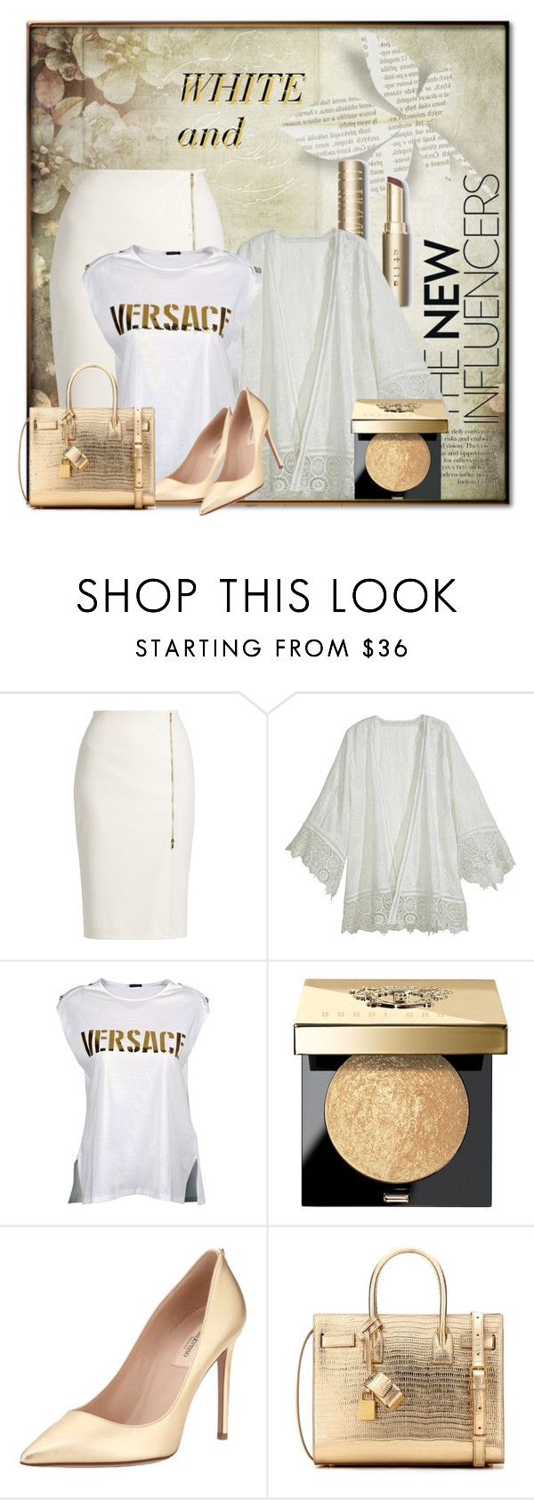 """WHITE and..."" by eco-art ❤ liked on Polyvore featuring MaxMara, Calypso St. Barth, Versace, Bobbi Brown Cosmetics, Valentino and Yves Saint Laurent"