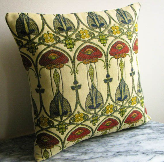 Art Deco Cushion/Embroidered Fabric Craftsman Style Pillow