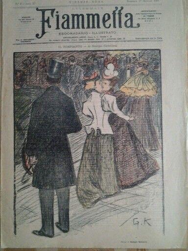 Fiammetta ebdomadario illustrato,  1896, Cover by Giorgio Kienerk
