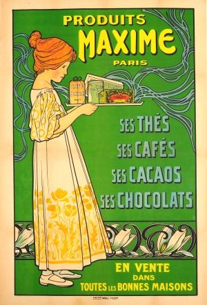Maxime Paris Art Nouveau Chocolate 1900s - large original antique food and drink advertising poster listed on AntikBar.co.uk