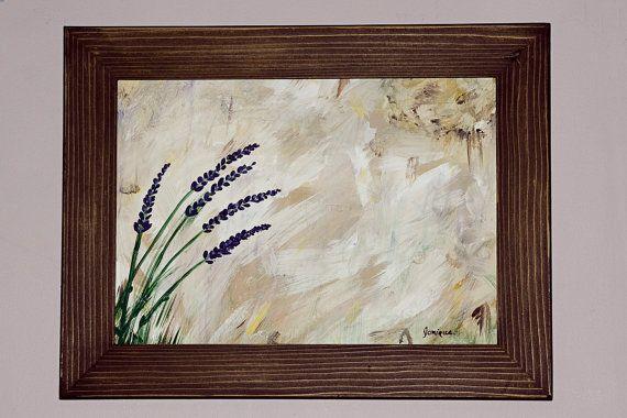 Peinture art cadre bois fleurs lavande par CreationsArtPhoto