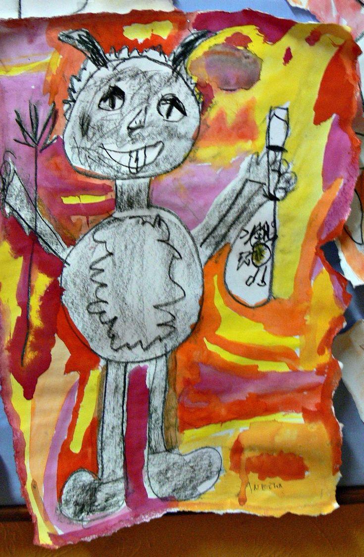 věk: 1. třída  1 vyuč. hodina  technika: kresba uhlem, pozadí je vodovkami,  formát- otrhaná A3
