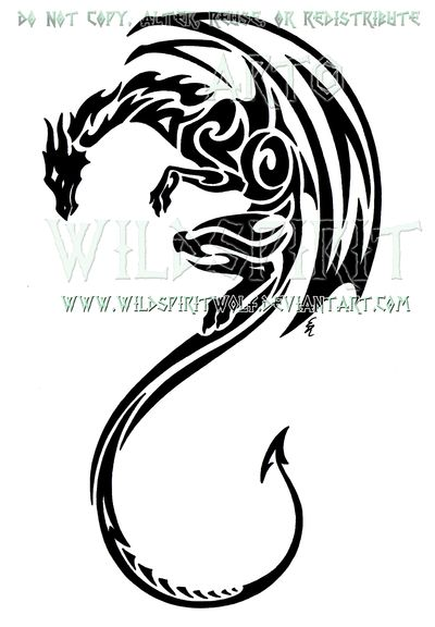 Vertical Tribal Dragon Design by *WildSpiritWolf on deviantART