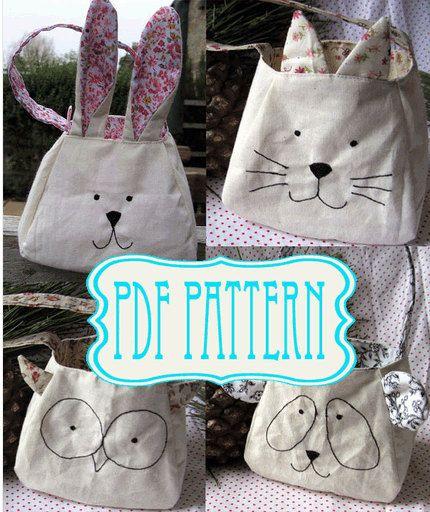DIY sewing pattern bag, instant download, Rabbit, Panda, Owl, Kitty bag, gift bag. Sewing Pattern - Make Your Own - $8