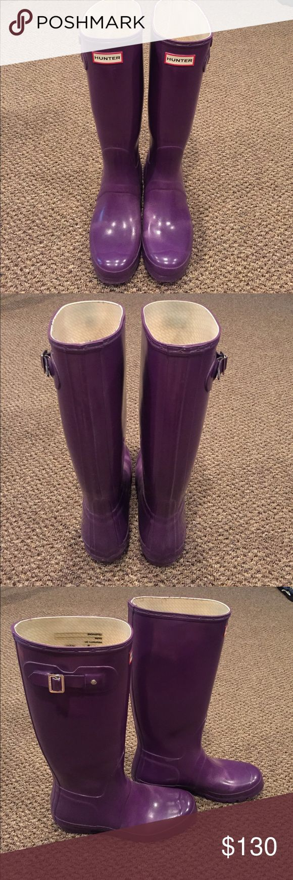 Purple Hunter Boots Purple Women's Norris Field Gloss Rain boot that have been worn only twice. In perfect condition Hunter Boots Shoes Winter & Rain Boots