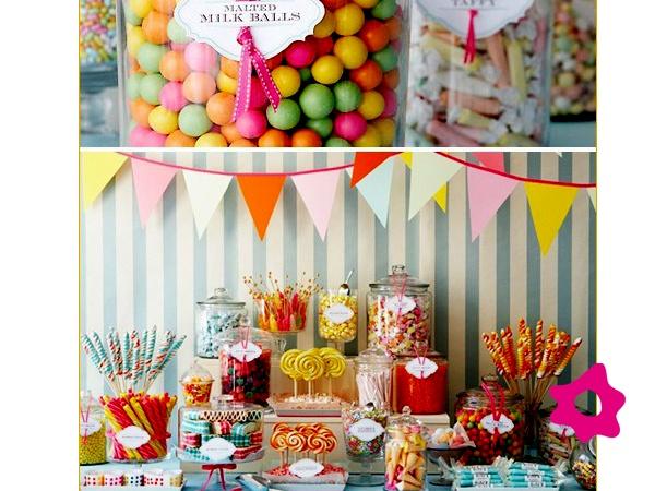 Mesa de dulces para un cumplea os infantil al estilo m s for Mesas de dulces infantiles