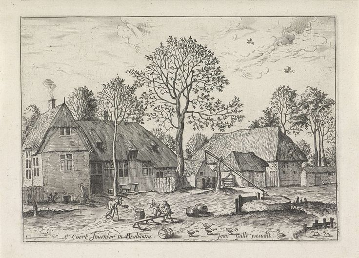 Johannes of Lucas van Doetechum | Boerderijen met waterput, Johannes of Lucas van Doetechum, Meester van de Kleine Landschappen, Joannes Galle, 1559 - 1561 | Twee boerderijen met een waterput op de voorgrond. Links twee boeren op een bankje.