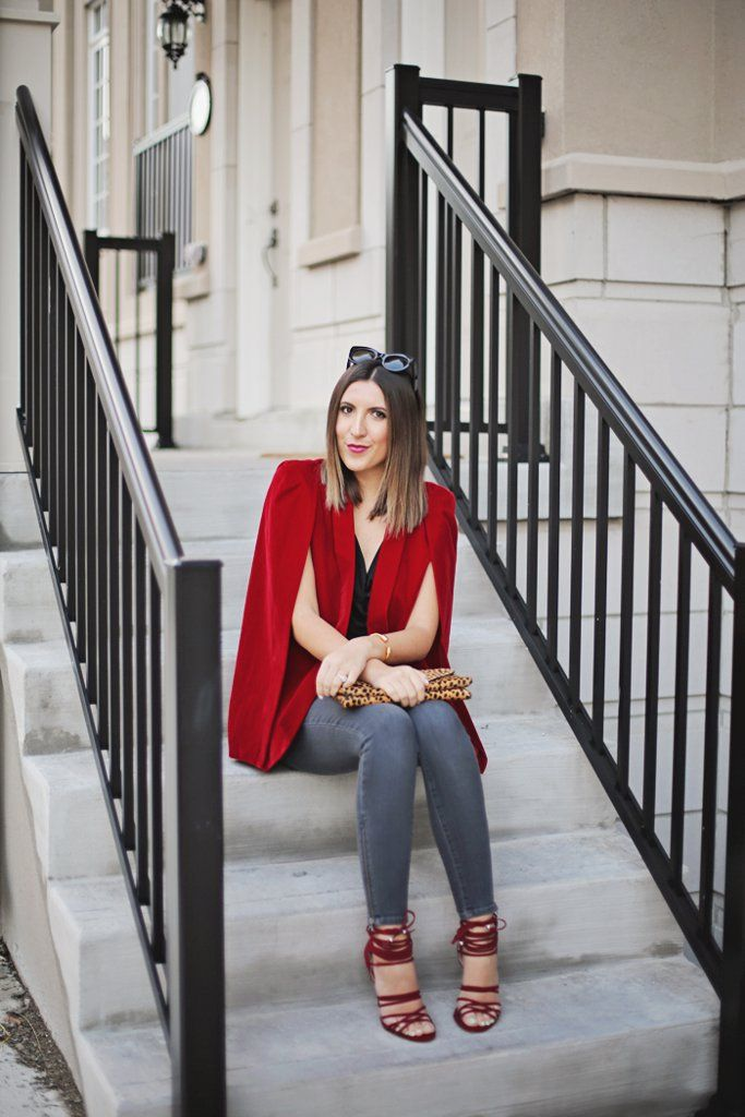 A polished cape always dresses up your entire look. Try it with jeans and heels.