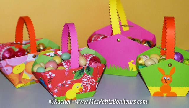 Panier en papier cartonné ~ tutoriel. Il peut servir de décoration pour les fêtes de pâques en le garnissant d'oeufs en chocolat.