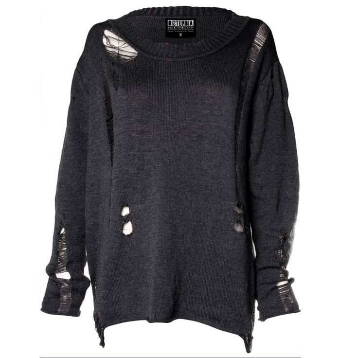 Destroyed unisex sweater www.attitudeholland.nl Don't let it fool you, this is a comfortable and warm sweater ;)