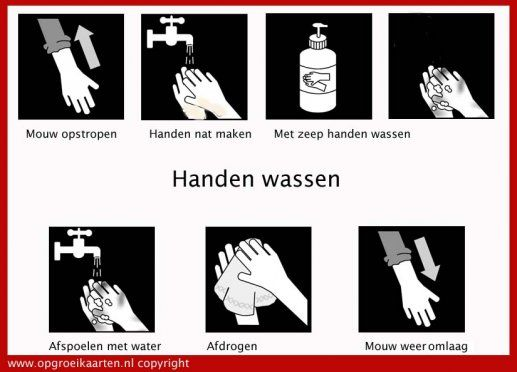 dagritmekaart handen wassen