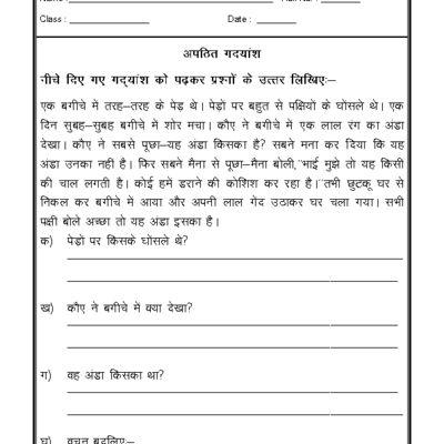 Hindi Worksheet - Unseen Passage in Hindi - 04 | Hindi ...
