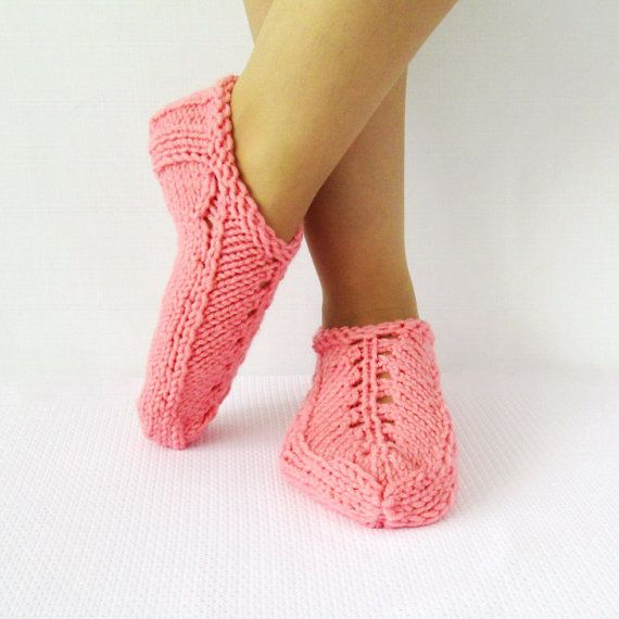 Items similar to Women's pink Slippers Booties Knitted Slippers House Shoes  Ladies pink Slippers Booties Granny Slippers on Etsy