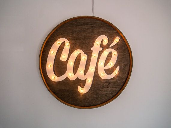 Café sign by THEWOODTYPESHOP on Etsy