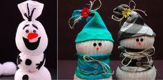 Un peu de bricolage facile pour préparer les fêtes de fin d'année ! Utilisez simplement de vieilles chaussettes pour confectionner ces bonhommes de neige trop mignons. Vous pourrez les bourrer avec du riz ou de la mousse et y ajouter des bouts de laine ou de corde, des rubans, des tissus colorés, des boutons et …
